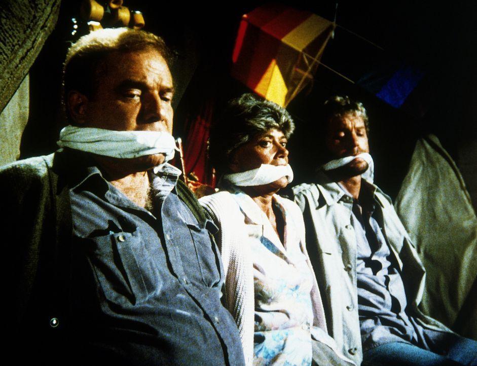 Carmine Davis (Gary Frank, r.) und seine Eltern (Ken Swofford, l. und Paddi Edwards, M.) werden von kaltblütigen Erpressern festgehalten. Und Rettung ist noch lange nicht in Sicht ...