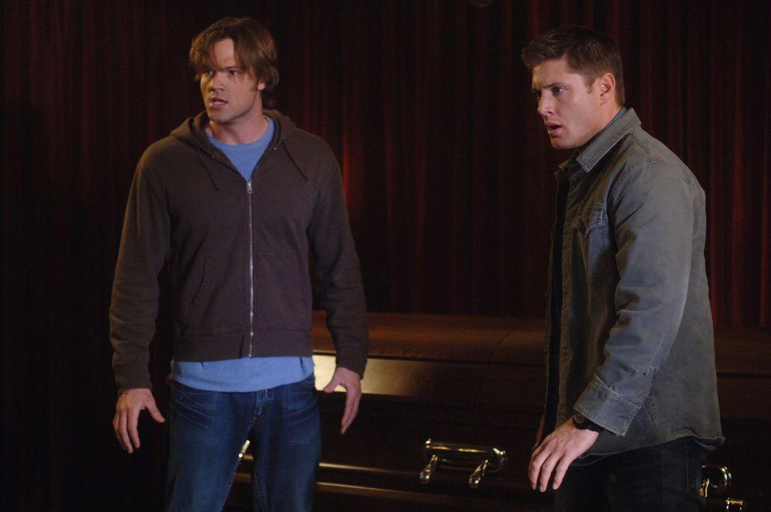 Die Geisterjäger Sam (Jared Padalecki, l.) und Dean (Jensen Ackles, r.) versuchen herauszufinden, warum die Bewohner einer Kleinstadt häufig Nahto... - Bildquelle: Warner Bros. Television