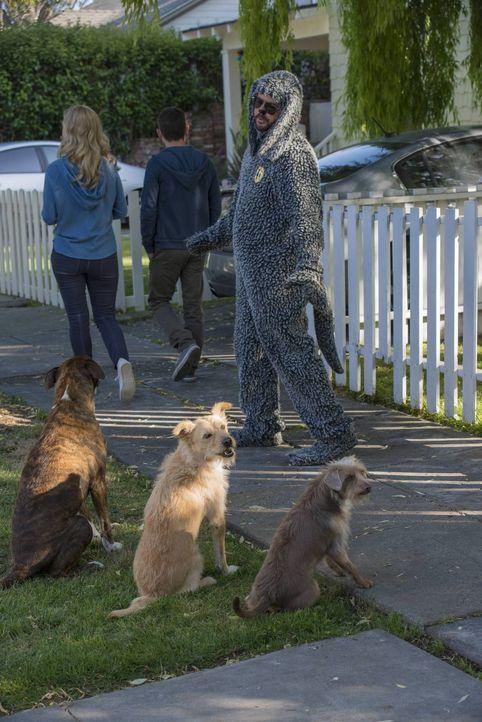 Wilfred (Jason Gann, r.) will den anderen Hunden, Ryan (Elijah Wood, M.) und vor allem Jenna (Fiona Gubelmann, l.) beweisen, dass er seine Menschen... - Bildquelle: 2013 Bluebush Productions, LLC. All rights reserved.