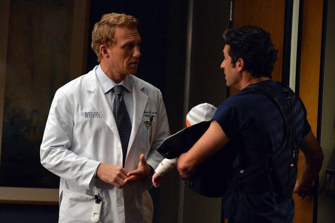 Als Owen (Kevin McKidd, l.) und Derek (Patrick Dempsey, r.) ein Bobenangebot des Präsidenten erhalten, gerät Dereks Vorsatz, zukünftig mehr Zeit... - Bildquelle: ABC Studios