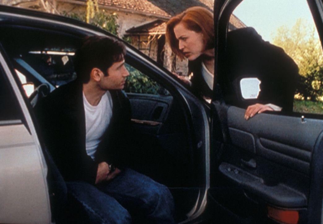 Scully (Gillian Anderson, r.) macht sich große Sorgen um Mulder (David Duchovny, l.), der immer wieder merkwürdige Anfälle hat. - Bildquelle: TM +   2000 Twentieth Century Fox Film Corporation. All Rights Reserved.