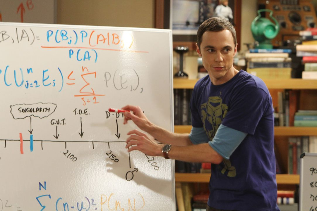 Sheldon (Jim Parsons) arbeitet an einem Algorithmus, um das Datum seines Todes zu berechnen. - Bildquelle: Warner Bros. Television