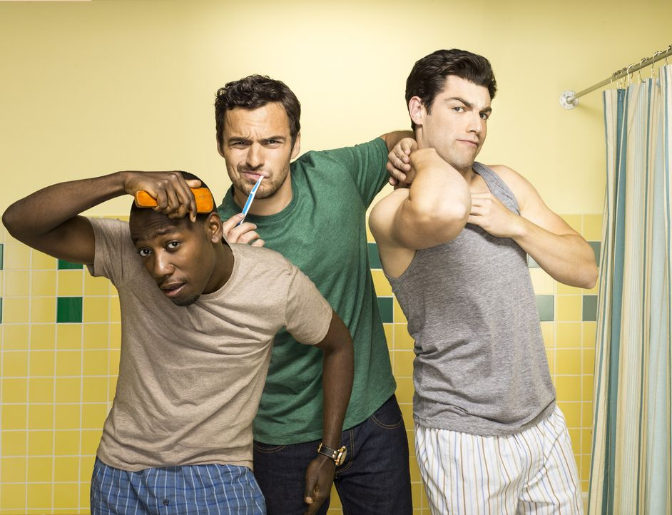 (2. Staffel) - Aus WG-Bewohnern werden Freunde: Winston Bishop (Lamorne Morris, l.), Nick Miller (Jake Johnson, M.) und Schmidt (Max Greenfield, r.) - Bildquelle: 2012-2013 Twentieth Century Fox Film Corporation. All rights reserved.