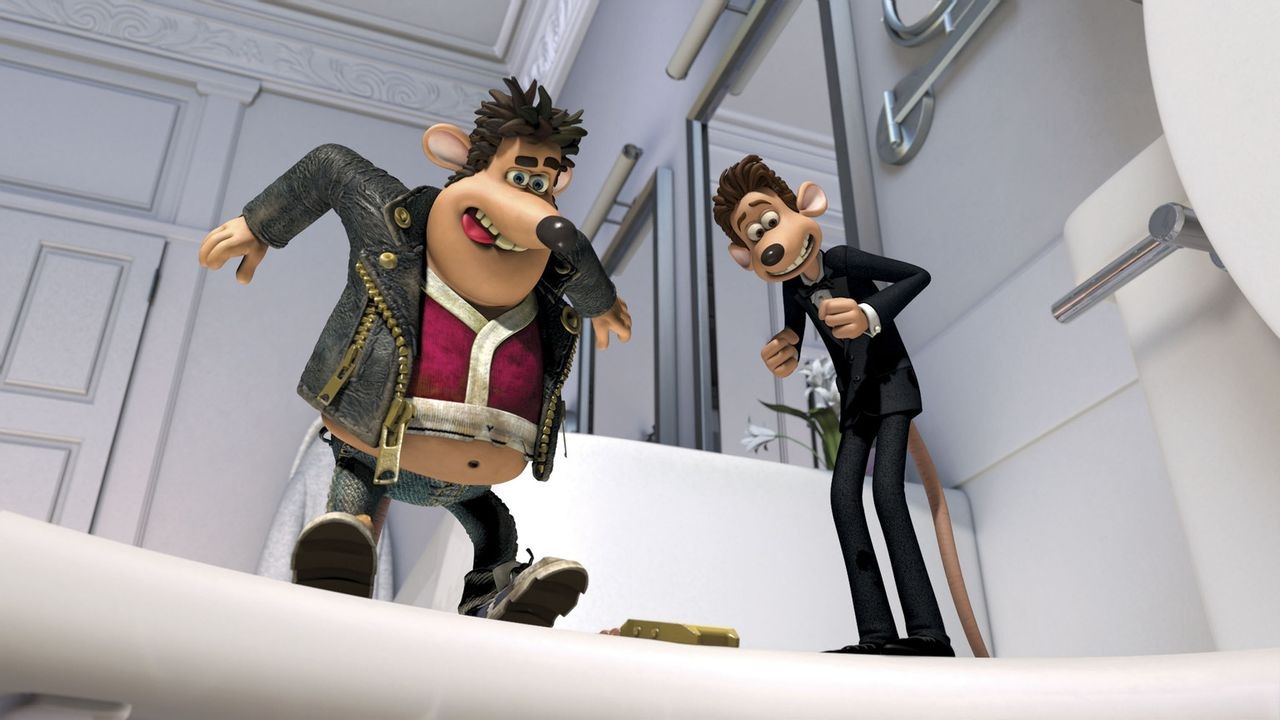 Eines Tages landet die Proletenmaus Sid (l.) im Spülbecken der Luxusmaus Roddy St. James (r.). Sofort übernimmt Sid das Kommando ... - Bildquelle: DREAMWORKS ANIMATION LLC AND AARDMAN ANIMATIONS LTD. FLUSHED AWAY TM DREAMWORKS ANIMATION LLC. ALL RIGHTS RESERVED.