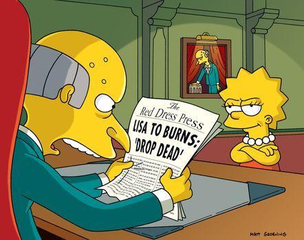 Die Simpsons - Mr. Burns (l.) versucht, sämtliche Medien der Stadt in seine H...