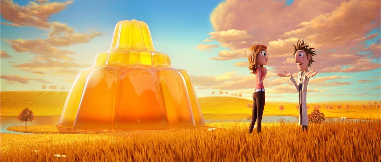 Flints (r.) neuentwickelte Maschine dreht durch. Mit Hilfe der Wetterreporterin Sam Sparks (l.), muss er nun eine Möglichkeit finden, die wildgewor... - Bildquelle: 2009 Sony Pictures Animation Inc. All Rights Reserved.