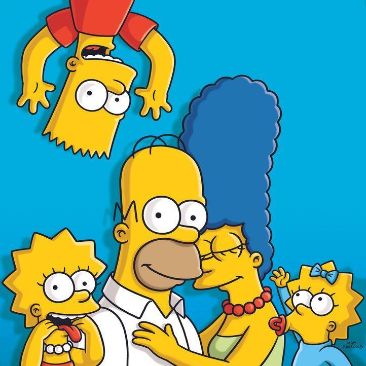 (22. Staffel) - Eine fast ganz normale Familie: Lisa (l.), Marge (2.v.r.), Maggie (r.), Homer (2.v.l.) und Bart (oben) ... - Bildquelle: und TM Twentieth Century Fox Film Corporation - Alle Rechte vorbehalten