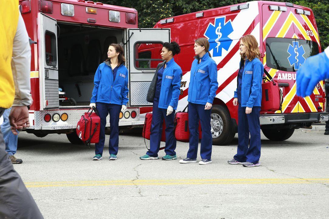Ein Tunnel stürzt in der Stadt ein und begräbt viele Fahrzeuge unter sich. Meredith (Ellen Pompeo, 2.v.r.), Maggie (Kelly McCreary, 2.v.l.), April (... - Bildquelle: ABC Studios