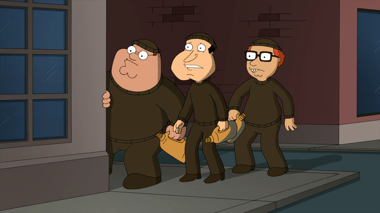 Gemeinsam hecken Peter (l.), Quagmire (M.) und Mort (r.) einen riskanten Plan aus ... - Bildquelle: 2011 Twentieth Century Fox Film Corporation. All rights reserved.