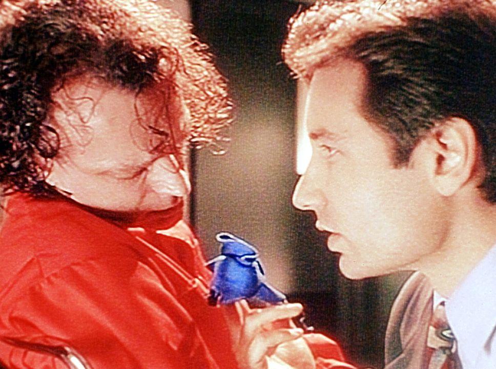 Mulder (David Duchovny, r.) verhört den zum Tode veruteilten Luther Boggs (Brad Dourif, l.), von dem er annimmt, dass er sein übernatürliches Wis... - Bildquelle: TM +   Twentieth Century Fox Film Corporation. All Rights Reserved.