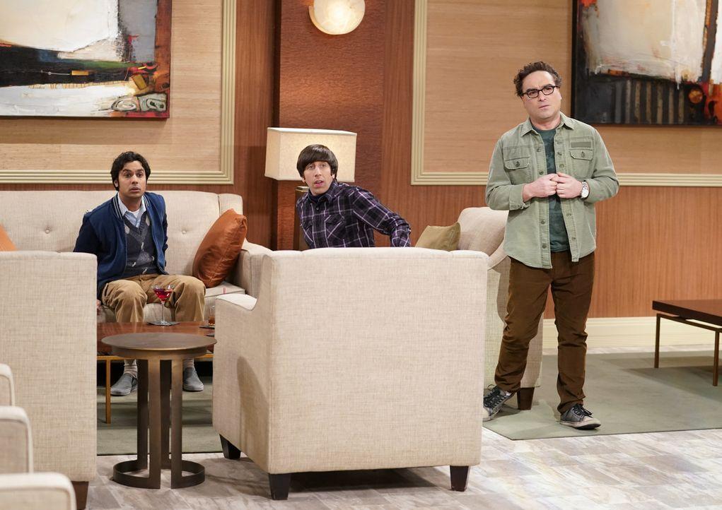 Wollen um jeden Preis einmal Bill Gates treffen und wittern ihre Chance, als Penny ein geschäftliches Treffen mit ihm hat: Raj (Kunal Nayyar, l.), H... - Bildquelle: Warner Bros. Television