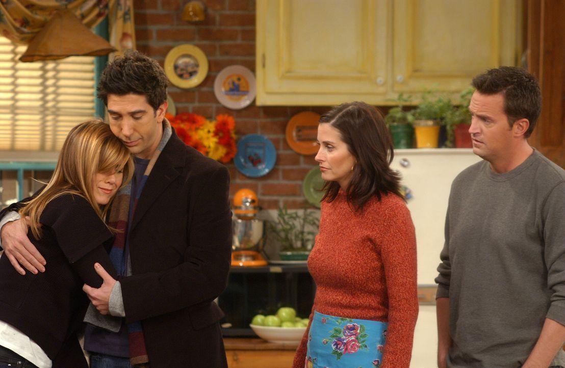 Rachel (Jennifer Aniston, l.) kann nicht fassen, das ihr Vater einen Herzinfarkt hatte und nun im Krankenhaus liegt. Ross (David Schwimmer, 2.v.l.),... - Bildquelle: 2003 Warner Brothers International Television