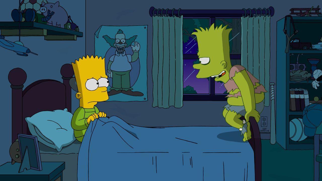 Nachdem Bart (l.) Lisas Lieblings Hut weggeworfen hat, muss er damit leben, dass die Schuld (r.) ihn nachts verfolgt und ihm den Schlaf raubt ... - Bildquelle: 2016-2017 Fox and its related entities. All rights reserved.