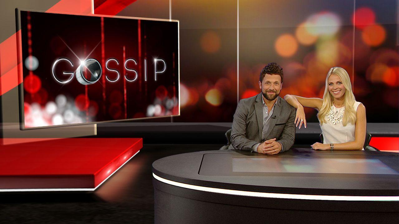 """Meinungsstark, unterhaltsam und auf den Punkt: """"Gossip - Das Entertainment-Magazin"""" wird von dem Moderatoren-Duo Julia Josten (r.) und Florian Ambro... - Bildquelle: SAT.1"""