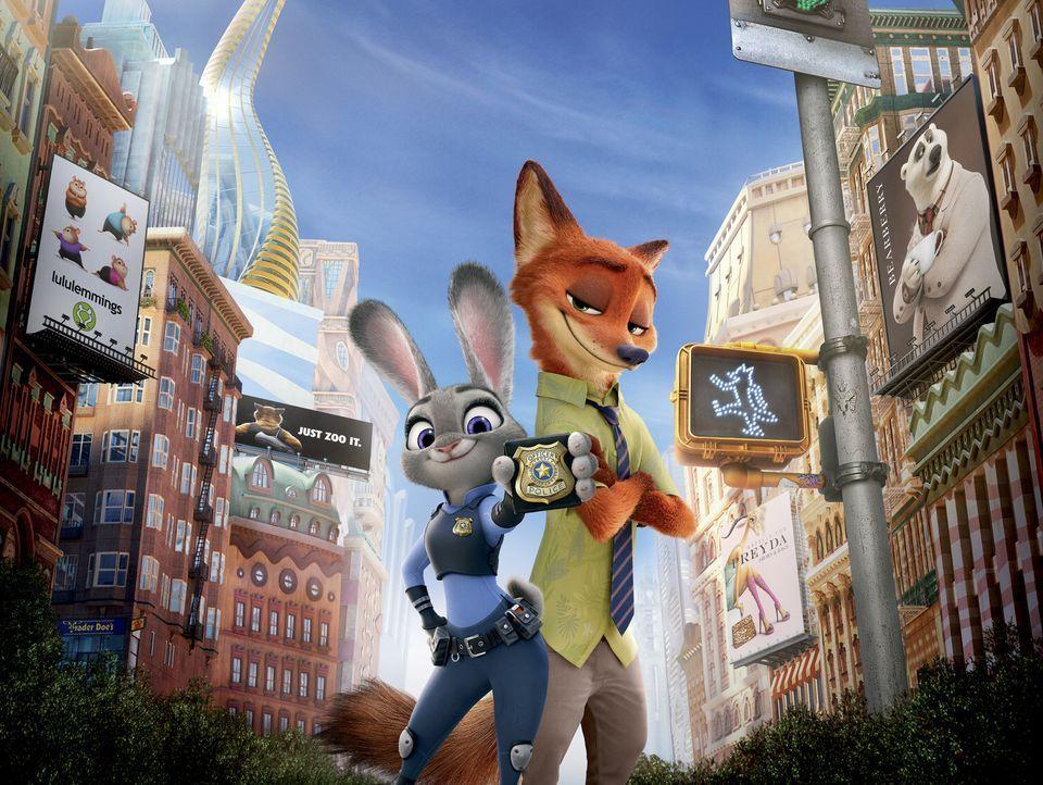 Polizistin Judy Hopps (l.) und der Gangster Nick Wilde (r.) müssen die Stadt retten, doch vor wem? - Bildquelle: 2015 Disney. All Rights Reserved.