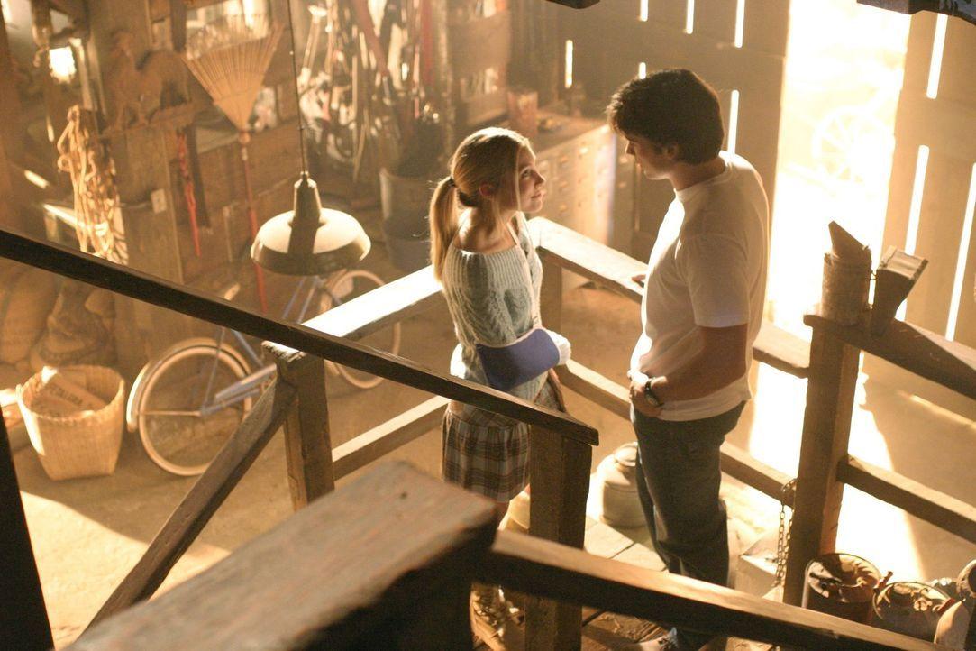 Obwohl Clark (Tom Welling, r.) früher schlechte Erfahrungen mit Alicia (Sarah Carter, l.) gemacht hat, ist er zunächst glücklich, dass seine Beziehu... - Bildquelle: Warner Bros.