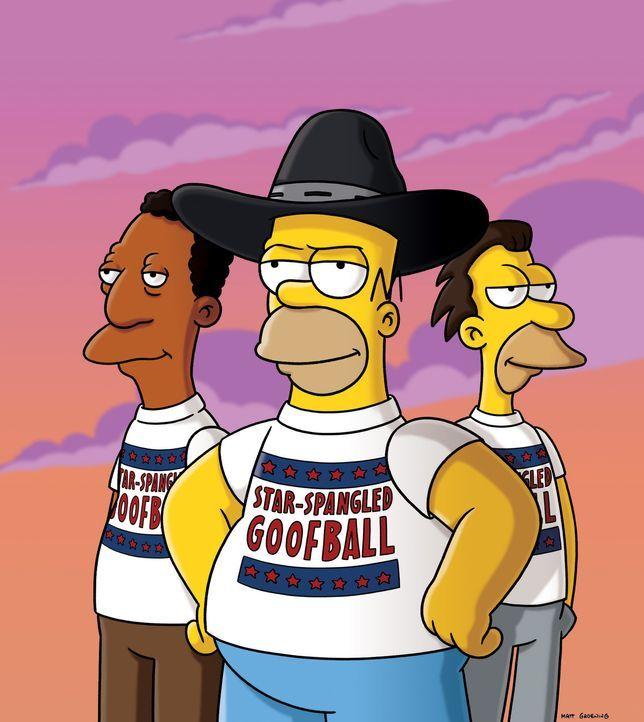 Zusamman mit Carl (l.) und Cletus (r.) will Homer (M.) das Einwanderungsproblem in den Griff bekommen ... - Bildquelle: und TM Twentieth Century Fox Film Corporation - Alle Rechte vorbehalten