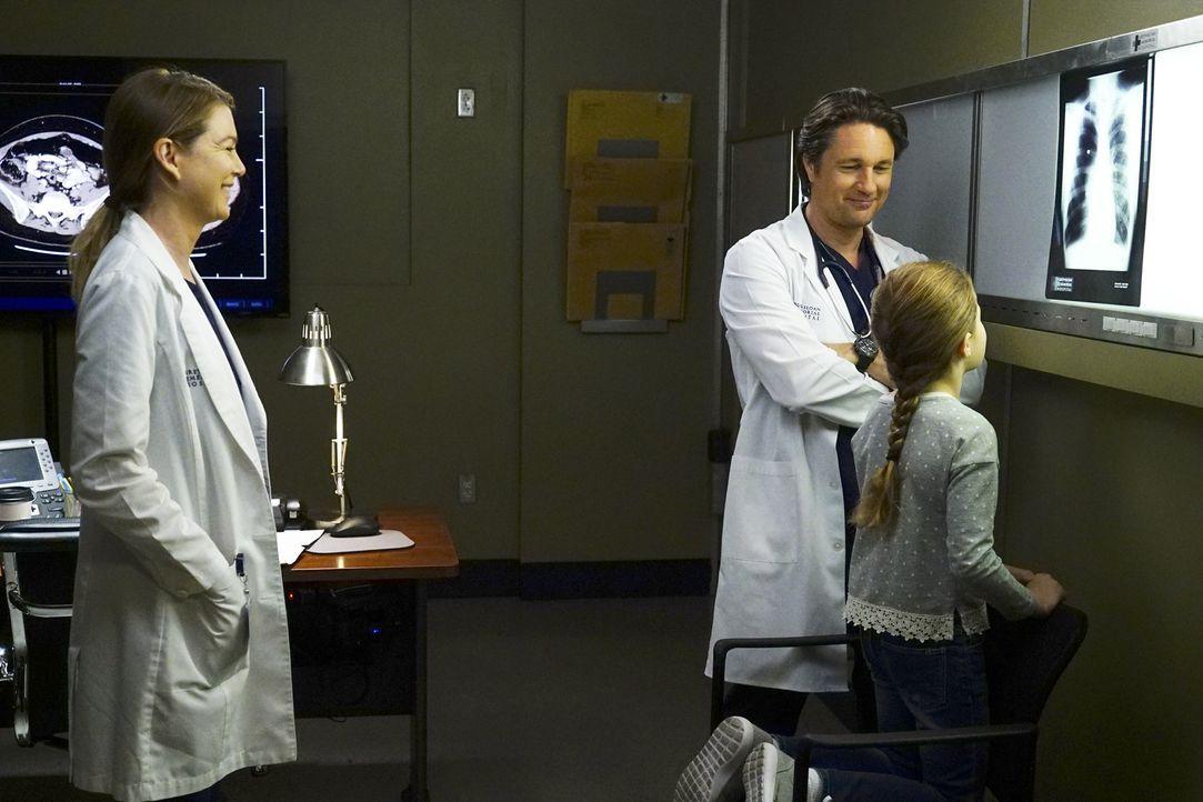Als Meredith (Ellen Pompeo, l.) sieht, wie gut Nathan (Martin Henderson, M.) mit seinen kleinen Patienten umgeht, wird sie in ihren Gefühlen zu ihm... - Bildquelle: 2017 American Broadcasting Companies, Inc. All rights reserved.
