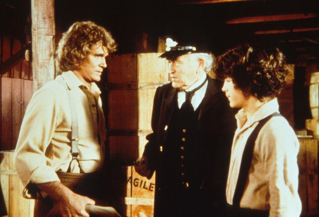 Albert (Matthew Laborteaux, r.) ist von Harlan als Schwarzfahrer erwischt worden, was Charles (Michael Landon, l.) sehr peinlich ist. - Bildquelle: Worldvision