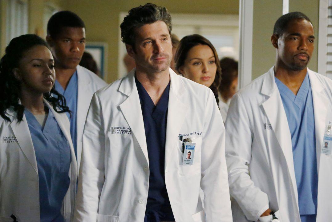 Derek (Patrick Dempsey, M.) hat für Ben (Jason George, r.), Jo (Camilla Luddington, 2.v.r.), Stephanie (Jerrika Hinton, l.) und Shane (Gaius Charles... - Bildquelle: ABC Studios