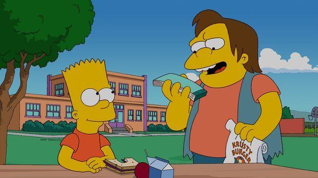 Bart (l.) hat eine geeignete Therapie gefunden, um Nelson (r.) endlich das Ro...