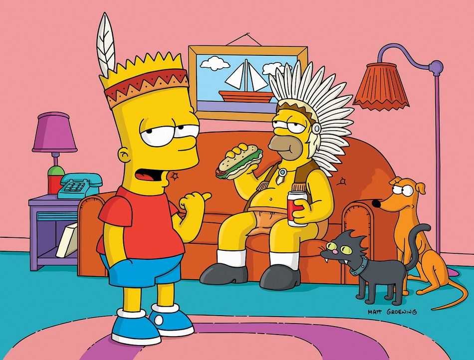 Da Bart (l.) bei einem Jugendgruppenwettbewerb zu den Verlieren gehört, lässt er sich gemeinsam mit Vater Homer (r.) etwas einfallen ... - Bildquelle: TWENTIETH CENTURY FOX FILM CORPORATION