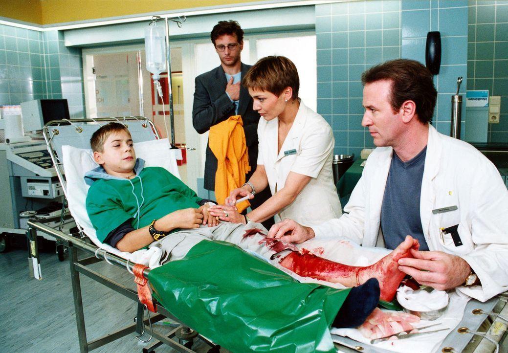 Vincent (Marco Bretscher, l.) muss erkennen, dass sein Vater lieber mit seinem Freund Daniel (Henrik Duryn, 2.v.l.) zusammenlebt, als mit Vincents M... - Bildquelle: Noreen Flynn Sat.1