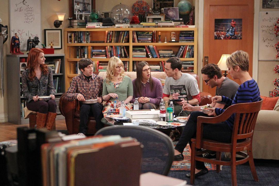 Ein ganz besonderer Abend wartet auf Bernadette (Melissa Rauch, 3.v.l.), Howard (Simon Helberg, 2.v.l.), Amy (Mayim Bialik, M.), Sheldon (Jim Parson... - Bildquelle: Warner Brothers