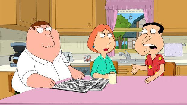 Quagmire (r.) erzählt Lois (M.) und Peter (l.) ganz aufgeregt, dass sein Vate...
