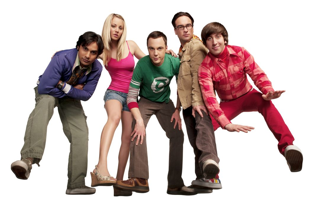 (4. Staffel) - Eine ganz besondere Truppe: Penny (Kaley Cuoco, 2.v.l.), Sheldon (Jim Parsons, M.), Rajesh (Kunal Nayyar, l.), Leonard (Johnny Galeck... - Bildquelle: Warner Bros. Television