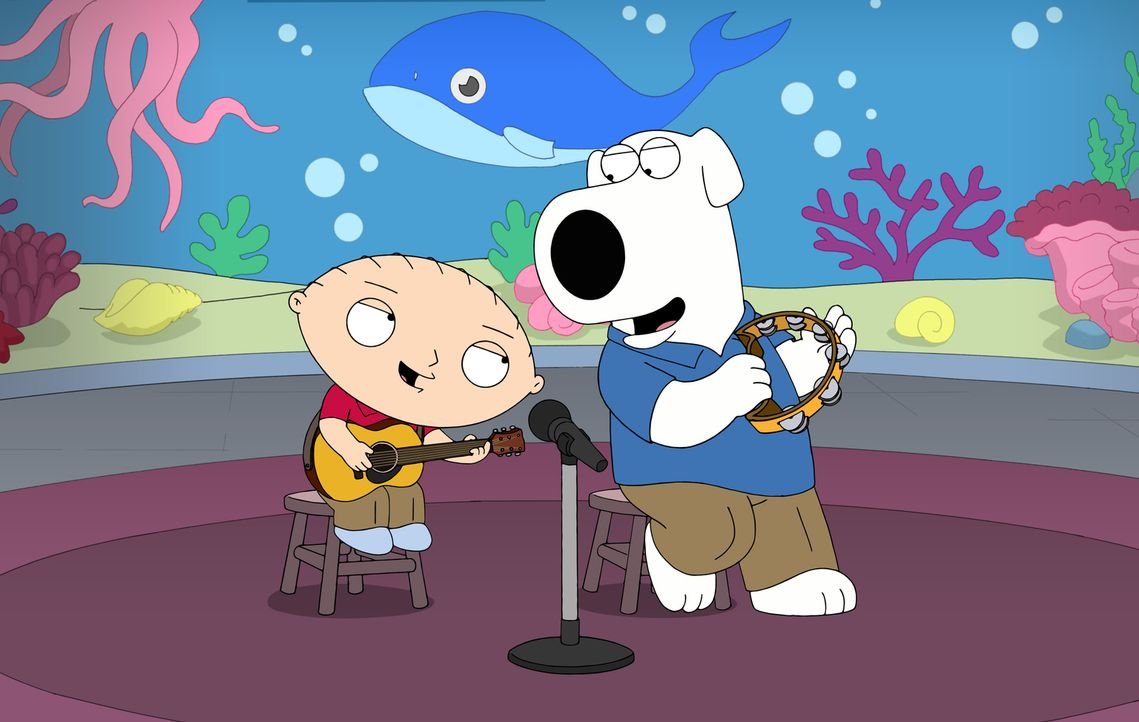Brian (r.) und Stewie (l.) werden zu einem erfolgreichen Singer-Songwriter-Duo, weil es ihrer Meinung nach keine Kinderlieder gibt, die die Wahrheit... - Bildquelle: 2016-2017 Fox and its related entities.  All rights reserved.