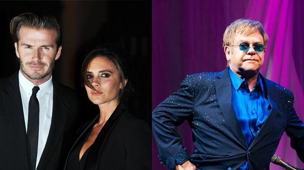 Top: Bechkams+++Flop: Elton John - Bildquelle: Daniel Deme - WENN.com / Arnold Wells - WENN.com