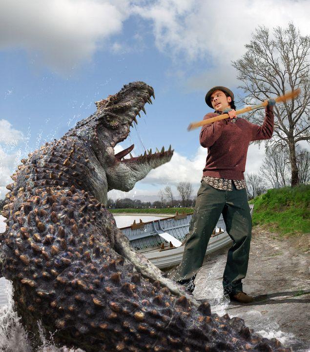 Connor (Andrew Lee Potts)  versucht sich gegen ein Mosasaurus zu wehren ... - Bildquelle: ITV Plc