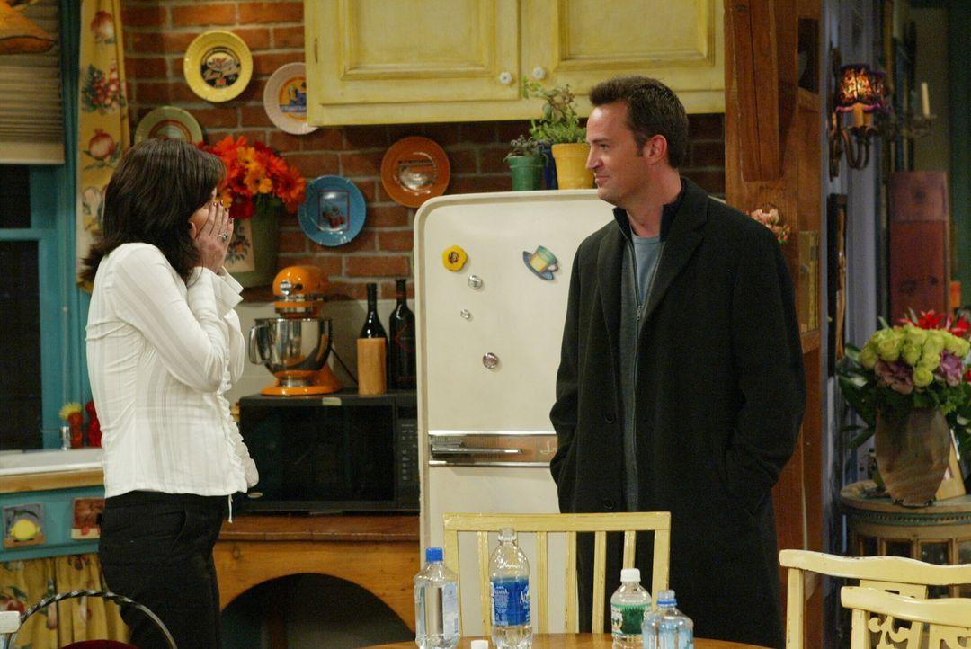 Monica (Courteney Cox, l.) kann nicht glauben, was Chandler (Matthew Perry, r.) ihr zu sagen hat ... - Bildquelle: 2003 Warner Brothers International Television