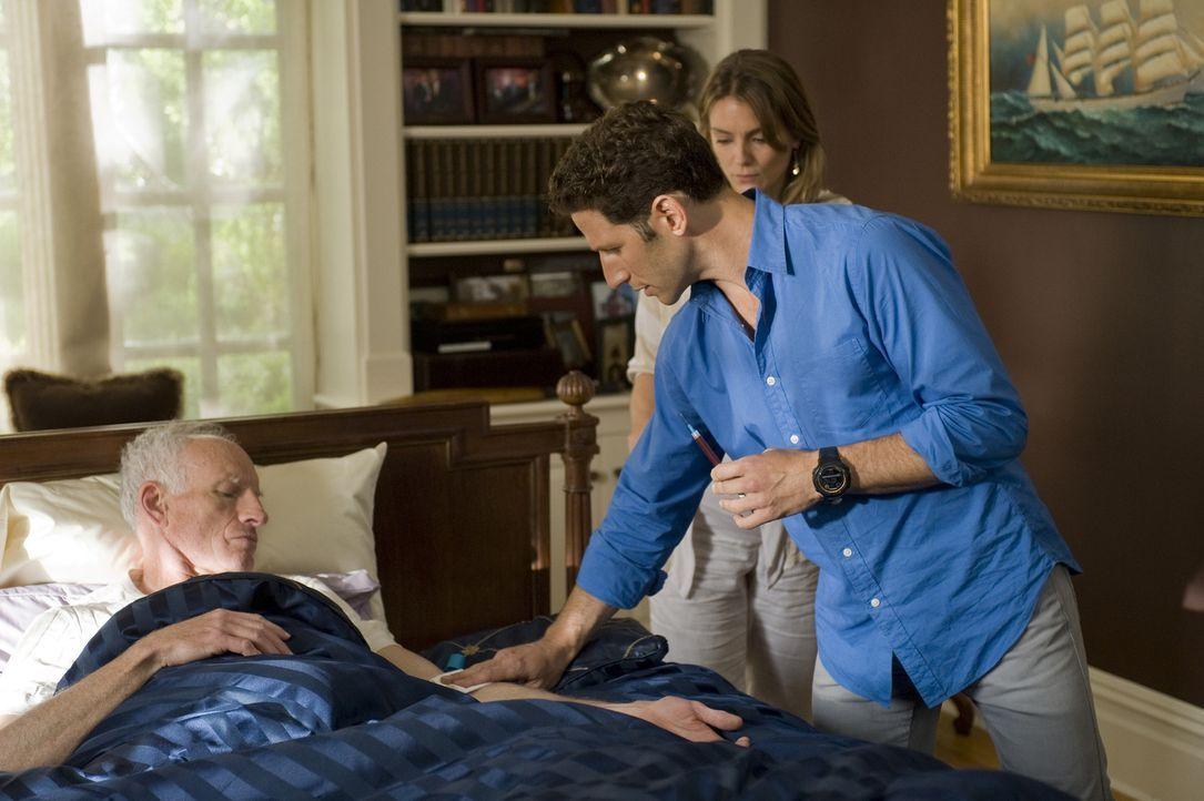Eigentlich wurde Dr. Hank Lawson (Mark Feuerstein, r.) als Leibarzt für die hochschwangere Claire (Susan Misner, M.) engagiert, doch dann hat Will (... - Bildquelle: Universal Studios