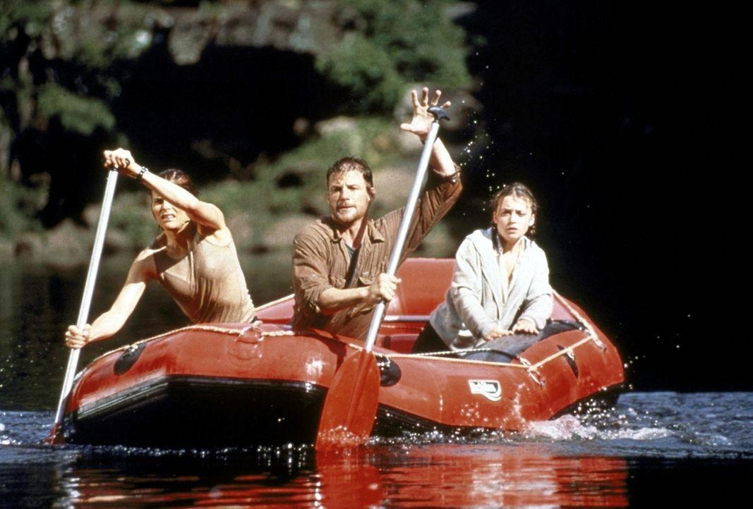 """Auf der Flucht vor den Terroristen der """"American Freedom Fighters"""": Alex (Mariel Hemingway, l.), Grant (Doug Savant, M.) und die Präsidententochter... - Bildquelle: Columbia TriStar"""