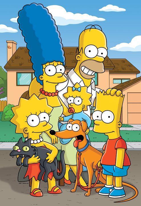 (23. Staffel) - Eine fast normale Familie: (v.l.n.r.) Lisa, Marge, Maggie, Homer und Bart - Bildquelle: und TM Twentieth Century Fox Film Corporation - Alle Rechte vorbehalten