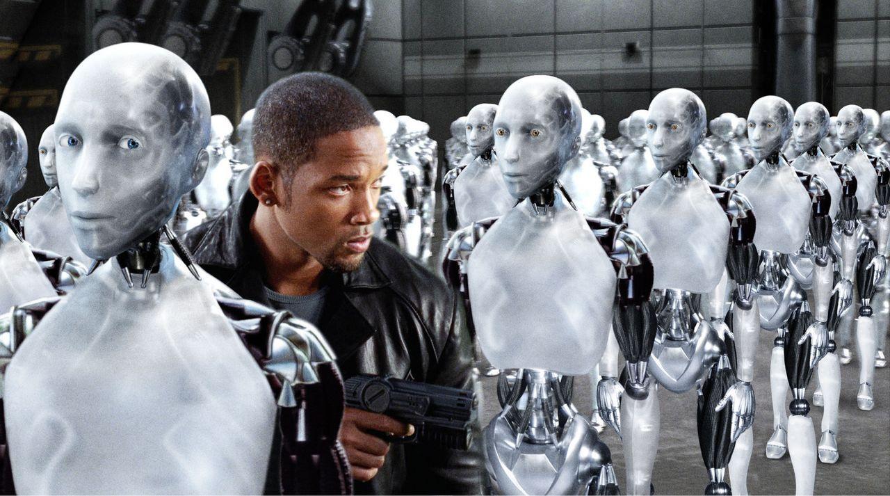 Als ausgerechnet ein Mord in den Labors der Robot-Entwicklung des High-Tech-Konzerns US Robotics passiert, hat Detective Del Spooner (Will Smith) sc... - Bildquelle: 2004 Twentieth Century Fox Film Corporation. All rights reserved.