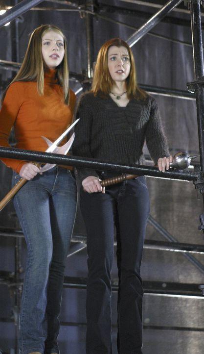 Dawn (Michelle Trachtenberg, l.) und Willow (Alyson Hannigan, r.) werden Zeugen, wie Buffy sich dem Supervampir Turok-Han stellt, um Spike zu befrei... - Bildquelle: TM +   Twentieth Century Fox Film Corporation. All Rights Reserved.