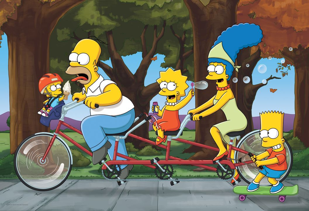 (27. Staffel) - Die Simpsons sind eine nicht alltägliche Familie: Maggie (l.), Marge (2.v.r.), Lisa (M.), Homer (2.v.l.) und Bart (r.) ... - Bildquelle: 2015 Fox and its related entities.  All rights reserved.