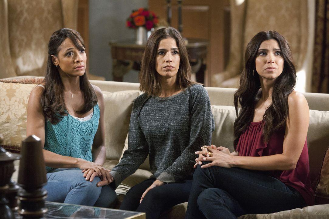 Stehen Marisol (Ana Ortiz, M.) bei allen Entscheidungen zur Seite: Rosie (Dania Ramirez, l.) und Carmen (Roselyn Sanchez, r.) ... - Bildquelle: 2014 ABC Studios