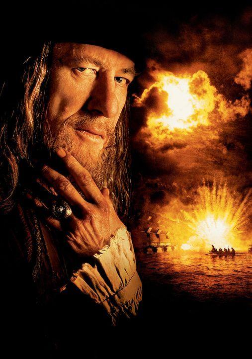 Auf Barbossa (Geoffrey Rush) und seiner Mannschaft lastet ein tragischer Fluch: Bei Mondschein verwandeln sie sich in lebendige Skelette, dazu verda... - Bildquelle: Disney/ Jerry Bruckheimer