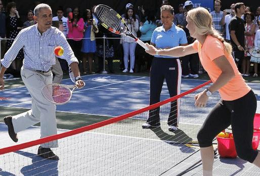 Tennis-Match im Weißen Haus: Caroline Wozniacki trifft Barack Obama - Bildque...