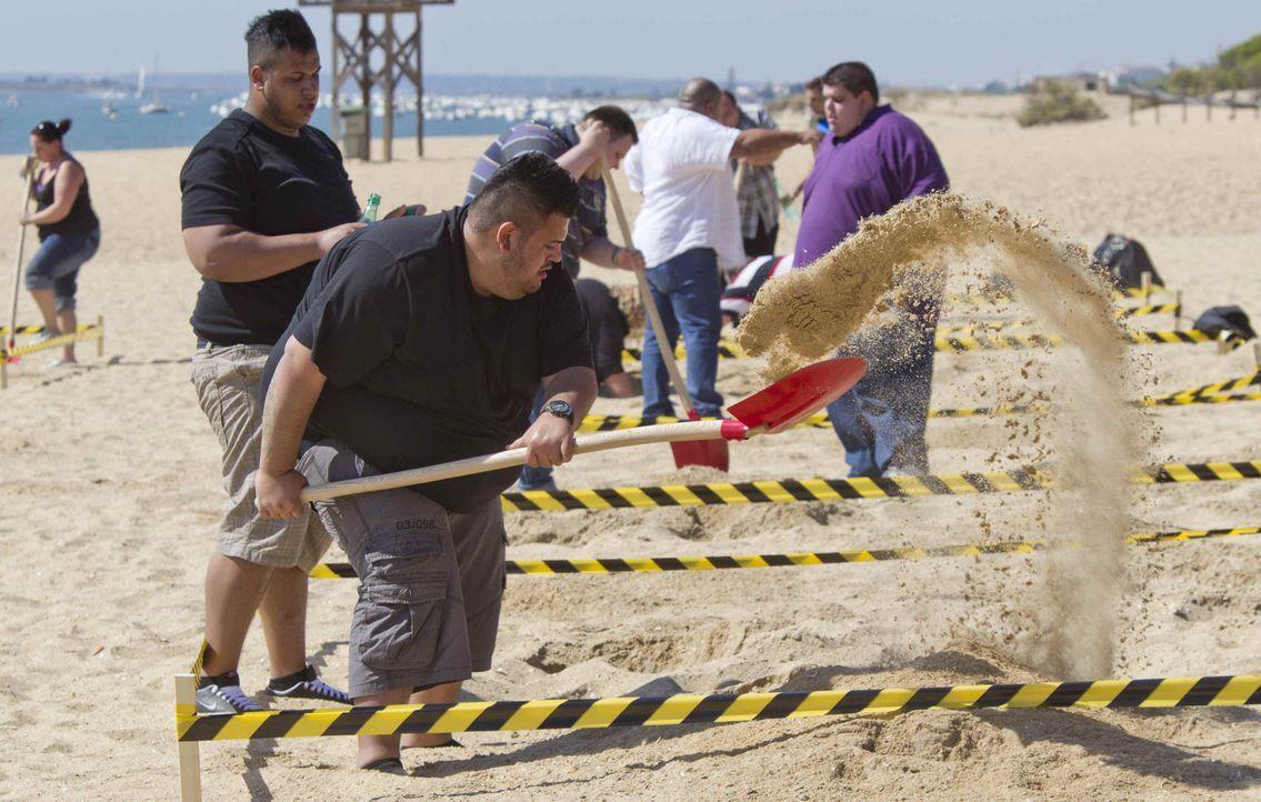 """Der erste Wettkampf ist für die Teilnehmer alles andere als ein Spaziergang am Strand. Schnell merken die Kandidate, dass """"The Biggest Loser"""" eine e... - Bildquelle: Enrique Cano SAT.1"""