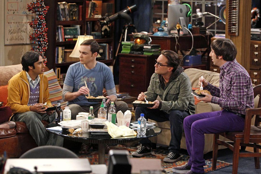 Ganz besondere Freunde: Sheldon (Jim Parsons, 2.v.l.), Rajesh (Kunal Nayyar, l.), Leonard (Johnny Galecki, 2.v.r.) und Howard (Simon Helberg, r.) ... - Bildquelle: Warner Bros. Television