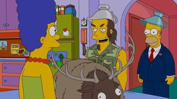 Die Simpsons - Zu Besuch bei Homer (r.) und Marge (l.): Rockmusiker Ted Nugen...