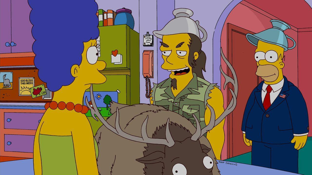 Zu Besuch bei Homer (r.) und Marge (l.): Rockmusiker Ted Nugent (M.) ... - Bildquelle: und TM Twentieth Century Fox Film Corporation - Alle Rechte vorbehalten