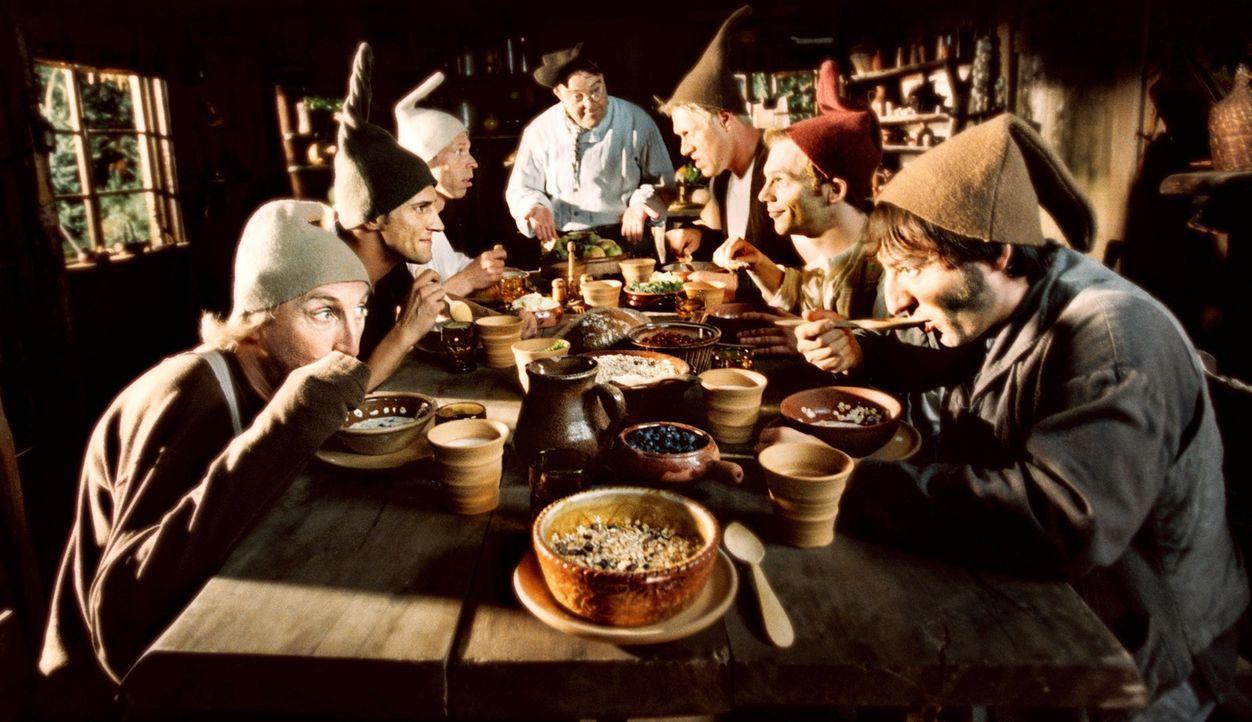 Nur gemeinsam haben die sieben Zwerge (v.l.n.r.) Bubi (Otto Waalkes), Tschakko (Mirco Nontschew), Speedy (Martin Schneider), Cookie (Gustav-Peter Wö... - Bildquelle: 2006 Zipfelmützen Film, Film & Entertainment VIP Medienfonds 2, Universal Pictures Productions, MMC Independent, Rialto Film