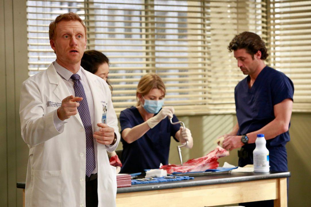 Christina (Sandra Oh, 2.v.l.), Meredith (Ellen Pompeo, 2.v.r.) und Derek (Patrick Dempsey, r.) überlegen, wie sie verschiedene Eingriffe in Syrien d... - Bildquelle: ABC Studios