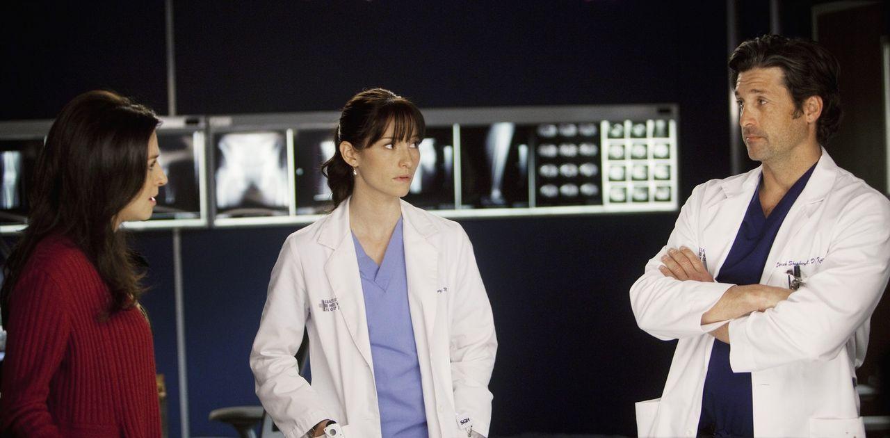 Gemeinsam wollen sie versuchen, das Leben von Erica zu retten: Derek (Patrick Dempsey, r.), Lexie (Chyler Leigh, M.) und Amelia (Caterina Scorsone,... - Bildquelle: ABC Studios